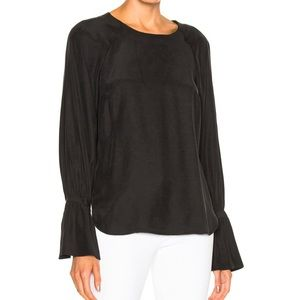 FRAME Denim Voluminous Cuff Silk Blouse in Noir